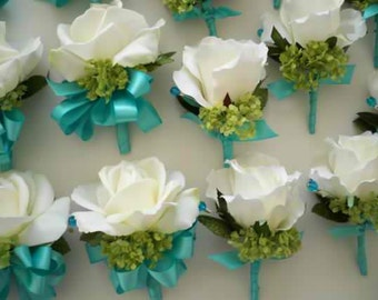 Realtouch Roses and Green Snowball Aqua Blue Wedding Bridal Bouquet Set