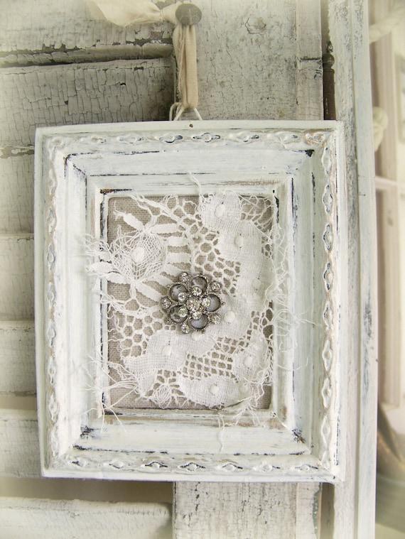Shabby white lace collage vintage rhinestone wall art by - Cuadros shabby chic ...