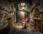 A Barbers Chair in a Prison Cell, Horizontal Format Photography Print, Historic Ruin, Eastern State Penitentiary, Sweeney Todd, Demon Barber