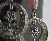 Lights in the Sky-antique vintage paste rhinestone and marcasite star assemblage earrings