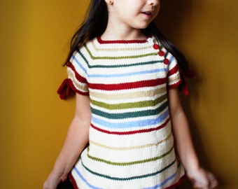 Autumn Road Tunic KNITTING PATTERN PDF Striped Tunic for 3 months to 10 years