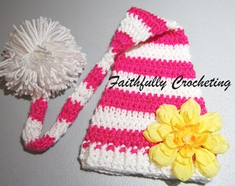Newborn Girl Elf Hat... Ready to Ship... Photography Prop.... Pink and White with Removable Flower hair clip