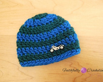 Newborn Wool  Motorcycle Button Beanie.... Ready to ship