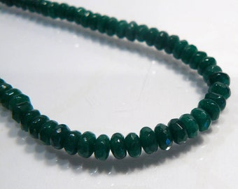 10 Beads....Emerald Green Jade Faceted Rondelle Gemstone Beads.....5mm...BB