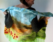RESERVED FOR LESLEY Felted  Art  Picture Vest  - Red Poppy field  (mixed merino wool and mulberry silk)