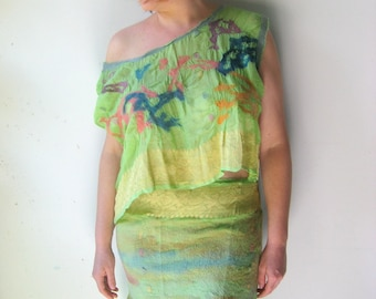 SALE Nuno Felted Pure Silk Top with Reversible Wrap Skirt -  Neon Apple Green