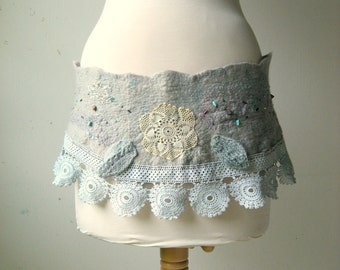 Felted Hip Belt or Scarflette Shabby Chic