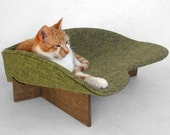 Modern cat bed (made to order) in avocado linen-look