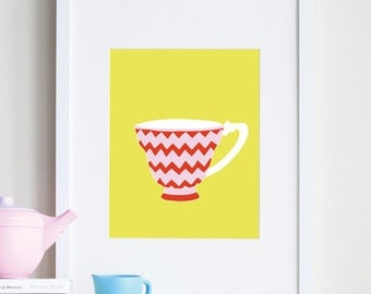 TEACUP Art, chevron girl nursery art, 8x10 - different sizes and colors available