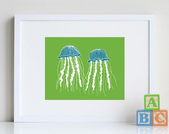 Jellyfish Art, ocean decor, sea life art prints 8 x 10 - different colors and sizes available