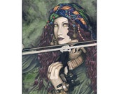 Enchanted Melodies Violin ACEO Print Gypsy Fantasy Art Artist Trading Cards ATC Fantasy Art Green Portrait