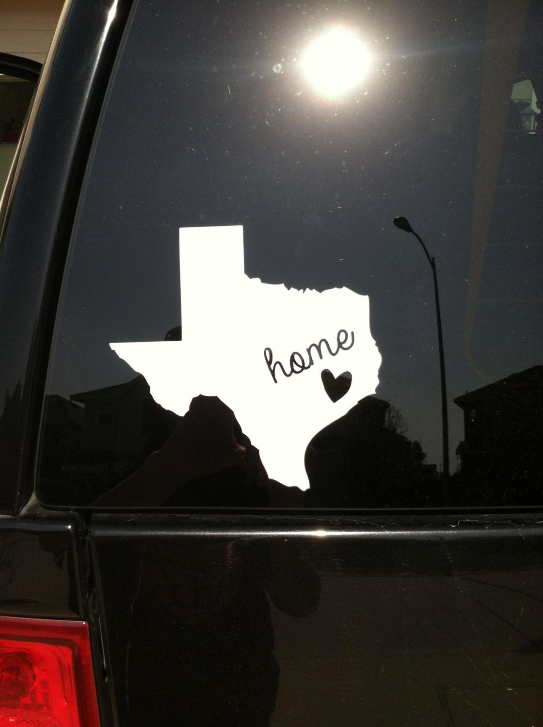 Texas Home Vinyl Decal Sticker With Local Heart
