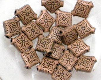 20 Bali Style Diamond Beads Antiqued Patina Copper Plated 10 x 9mm BDB-11AC