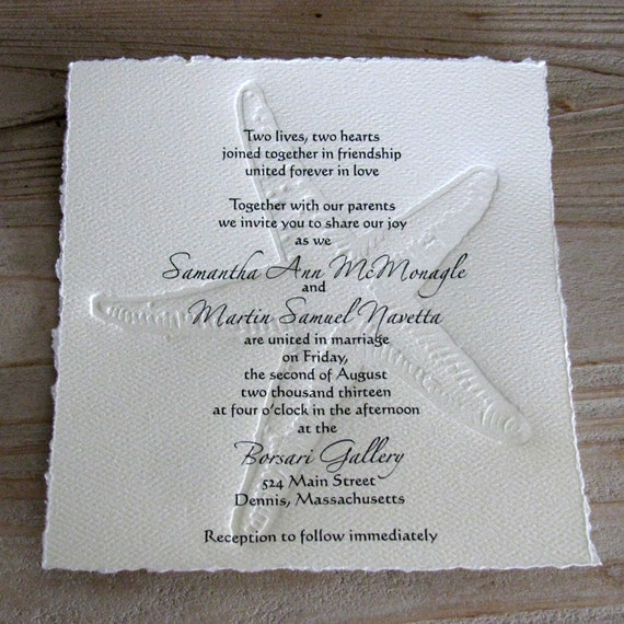 50 BEACH Wedding Invitations With Letterpress Embossed