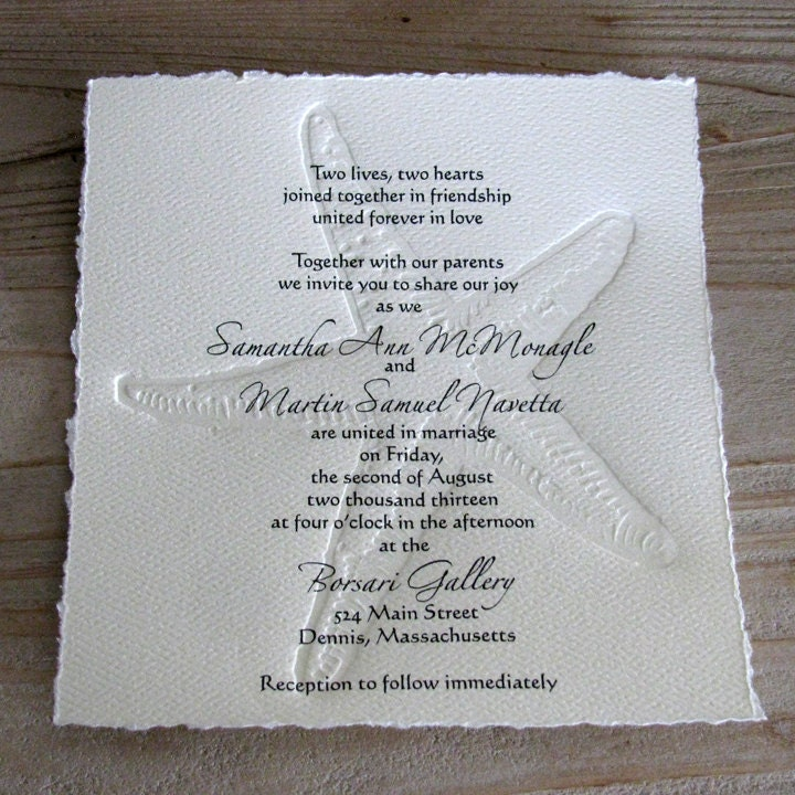 Beach Wedding Invitations: 50 BEACH Wedding Invitations With Letterpress Embossed