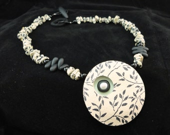 Statement Modern Necklace Dalmation Jasper Dimensional Polymer Clay Pendant Necklace