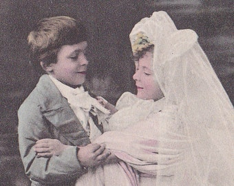 SALE 1900s postcard, Child bride & groom, RPPC paper ephemera. Price reduced.