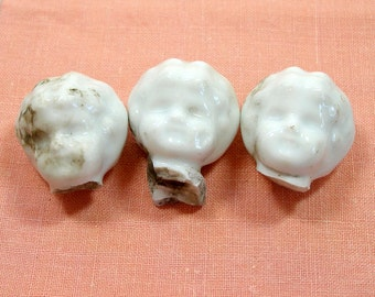 1800s China doll heads, Frozen Charlotte all white, great for altered art or mixed media, fun & funky kitsch.