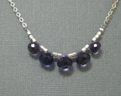 Iolite Quartz Briolette and Sterling Silver Necklace, Handmade Artisan Sterling and Gemstone Necklace by Stone and Sterling