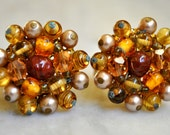 Haskell Style Art Glass Earrings in Brown, Amber and Pearls - SALE