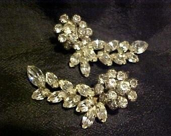 Really big Rhinestone Clip Earrings