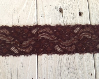 WIDE Stretch Lace DARK BROWN-2 inch -2 yards for 2.99