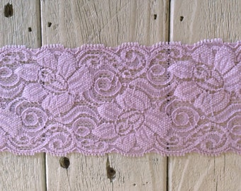 WIDE Stretch Lace LIGHT LAVENDER  -3 inch -2 yards for 3.99