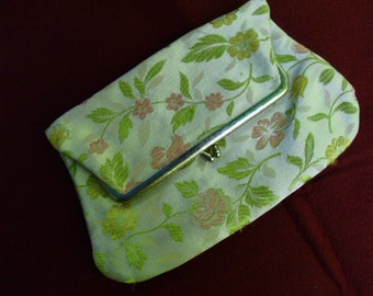 1960 fold over clutch brocade taupe pink green yellow