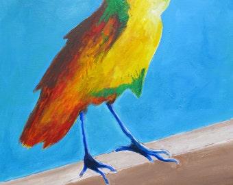 Original Acrylic Colorful Bird Painting