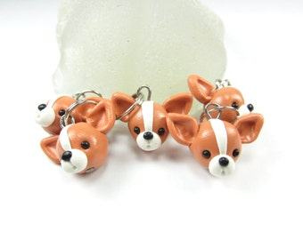 Chihuahua Stitch markers (set of 5) polymer clay dog stitch markers, knitting accessories, knit, dog charm, chihuahua charm, chihuahua gift