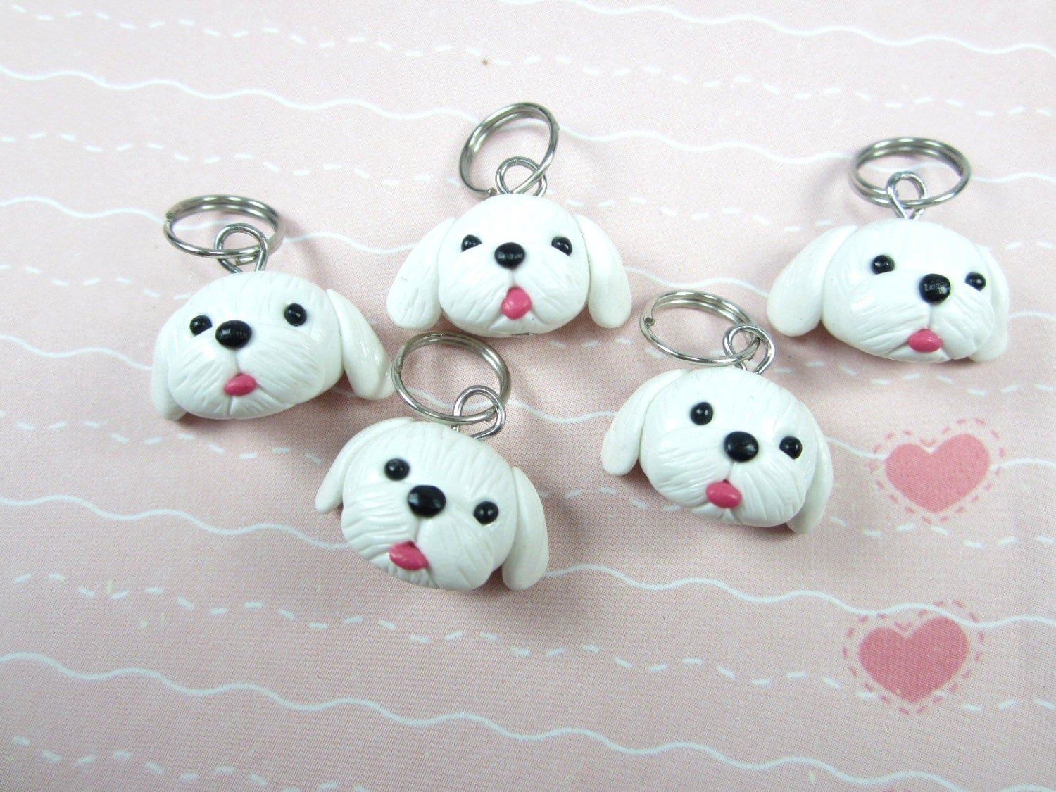 Maltese Dog Knitting Pattern : Maltese dog Stitch markers set of 5 polymer clay dog knitting