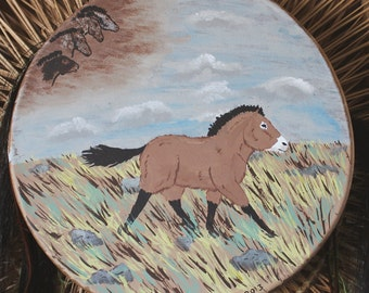 """13"""" thirteen inch diameter real raw hide skin and cedar hoop frame shaman hand drum painted with Przewalski's horse and cave paintings"""