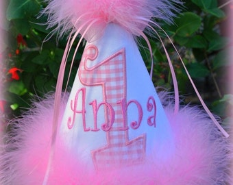 Gingham Birthday Hat, Name Added Free, Princess Number Hat,  You Choose Colors,  by GINGHAM BUNNY