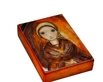 Saint Bernadette - Aceo Giclee print mounted on Wood (2.5 x 3.5 inches) Folk Art  by FLOR LARIOS