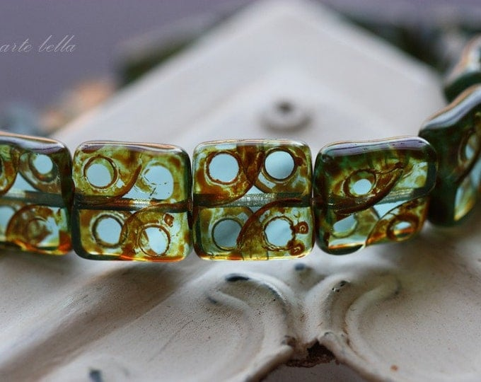 sale .. DOTTED RIVER .. 10 Premium Picasso Czech Glass Beads 10mm (3502-10)