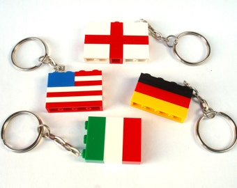 World Flag Keychain / Keyring. Countries Keychain. Wedding Favours - handmade with LEGO(r) Bricks