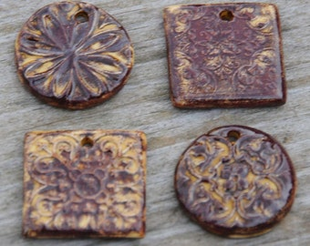 4 Copper Pottery Pendants or Beads