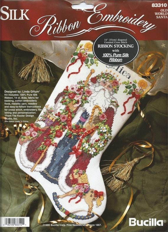 Bucilla Silk Ribbon Embroidery Old World Santa Counted Cross