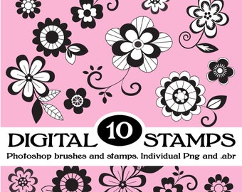 10 Digital Flower Clipart, Brushes and Stamps. Instant Download. Digital Scrapbooking. Personal, Limited Commercial. 300 dpi png files.