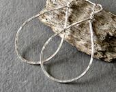 Sterling Silver Teardrop Earrings, Textured Dangle Earrings - Medium, Eco Friendly Jewelry