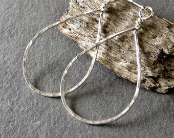 Teardrop Hoop Earrings, Silver Earrings, Textured Dangle Earrings - Medium, Eco Friendly Jewelry