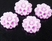 Cabochon Flower 4 Resin Round Flower Purple 18mm x 7.5mm (1020cab18p1)