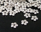 Bead Spacer 50 Star Bead Antique Silver 5-Petal Flower 7mm NF (1103spa07s1)