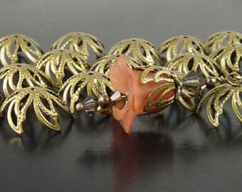 Bronze Bead Cap 48 Antique Bronze Flower Bendable 6-Petal Point Leaf 18mm x 4.5mm NF (1020cap18z1)xz