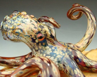 Glass Octopus Sculpture Aquarium Art Paperweight Ocean art Metallic Boro  VGW KT (made to order)
