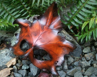 brown Leather Maple Leaf Mask