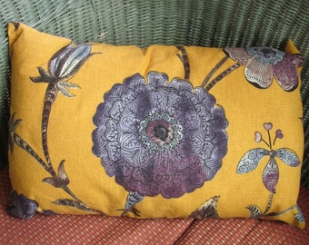 Purple and Gold Floral Pillow