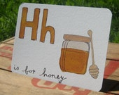 H is for Honey - Alphabet postcard - letter Hh only