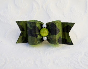 "Dog Bow- 5/8"" Lime Camo Dog Bow"