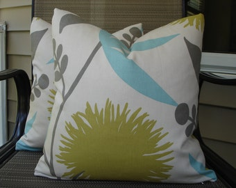 Modern Floral Pillow Covers One Pair 16 x 16 Handmade Floral Pillows Home Decor Decorative Throw PIllows Cotton Pillows Cushion Covers